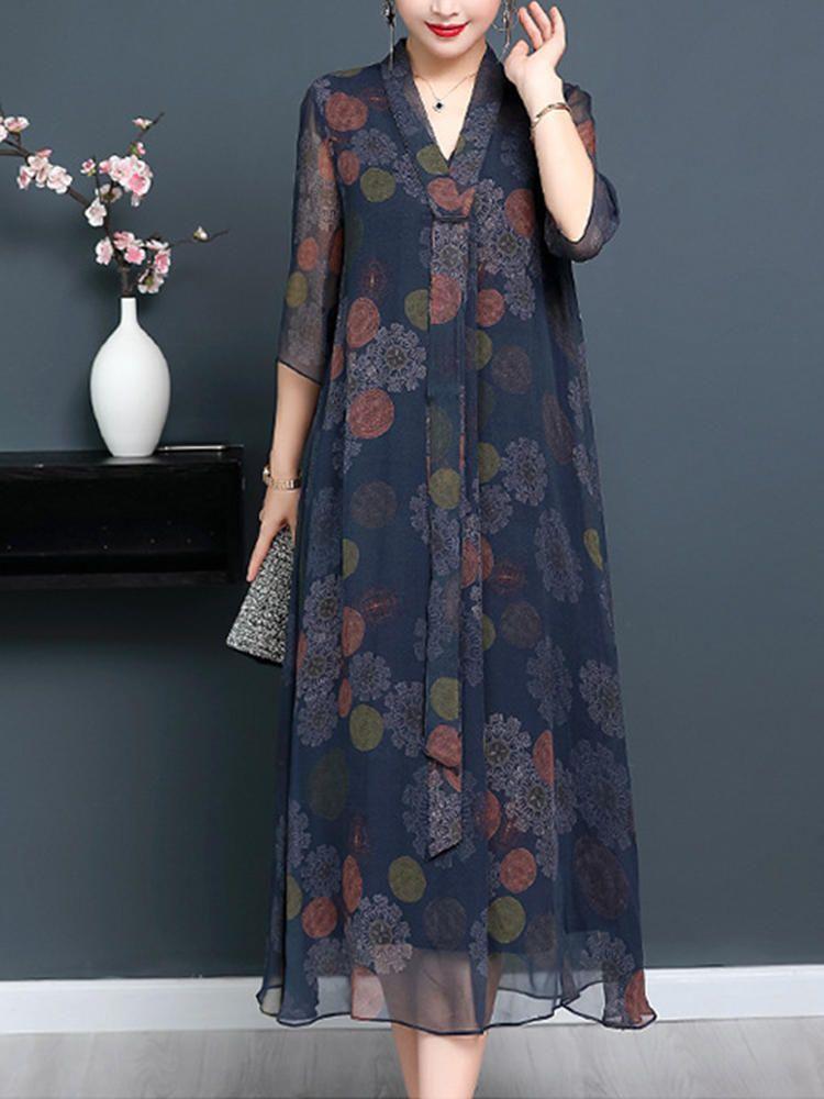 Vintage Women Floral Printed Half Sleeve Dress #Women #Printed #Sleeve #Floral #Dress #Half #Vintage #vintagedresses