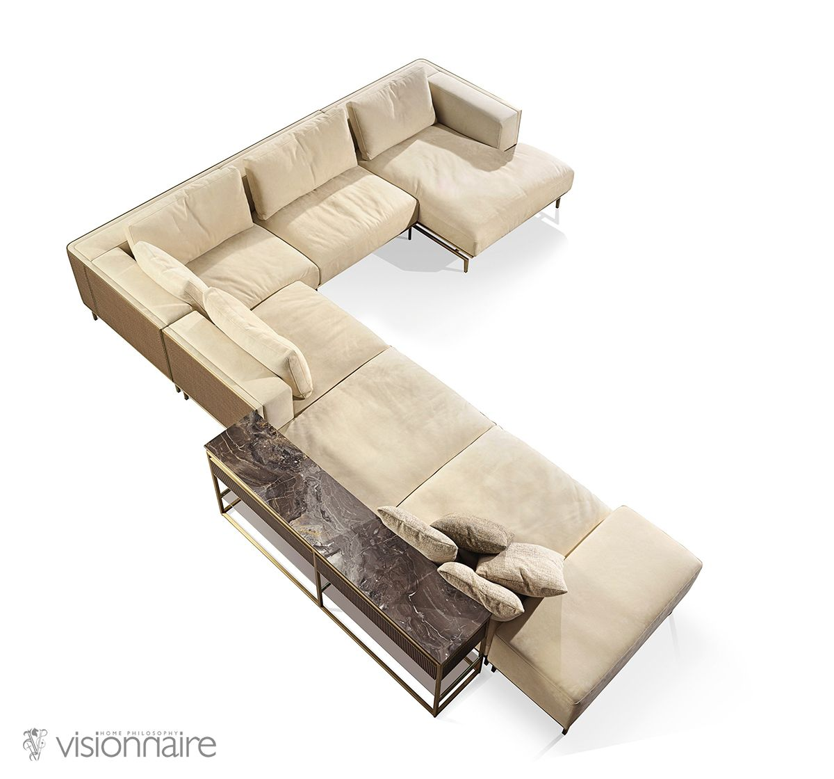 Luxury Italian Upholstered Backstage Sectional And Sofa