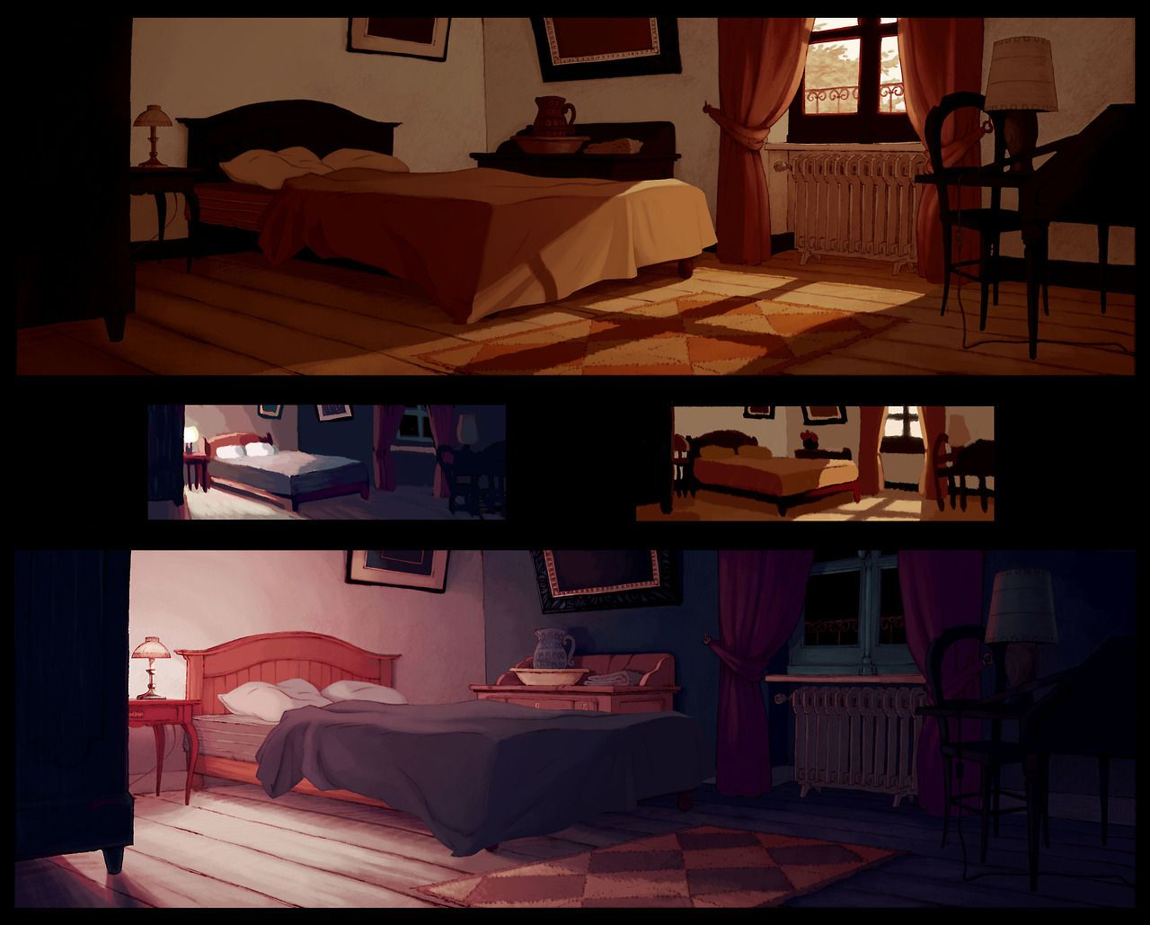 """And a background color exercice with Patrice Suau Original layout from feature film""""Le Jour Des ... - #background #bedroom #color #gobelins"""