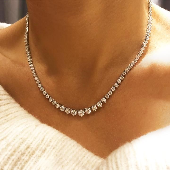 Photo of Three Stone Natural Free Conflict Diamond 0.70 CT Necklace, 3 Stone 14k Classic Trio Diamond Gold Ne