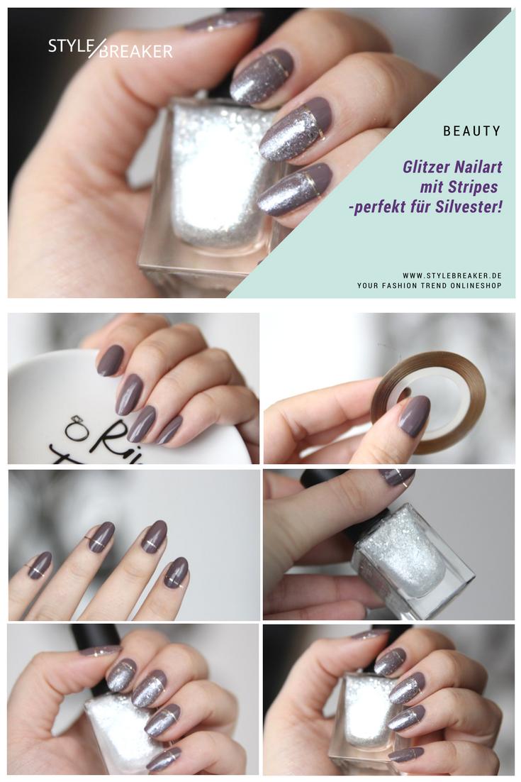 Glitzer Nails Tutorial Silvester - perfekt für Anfänger geeignet ...