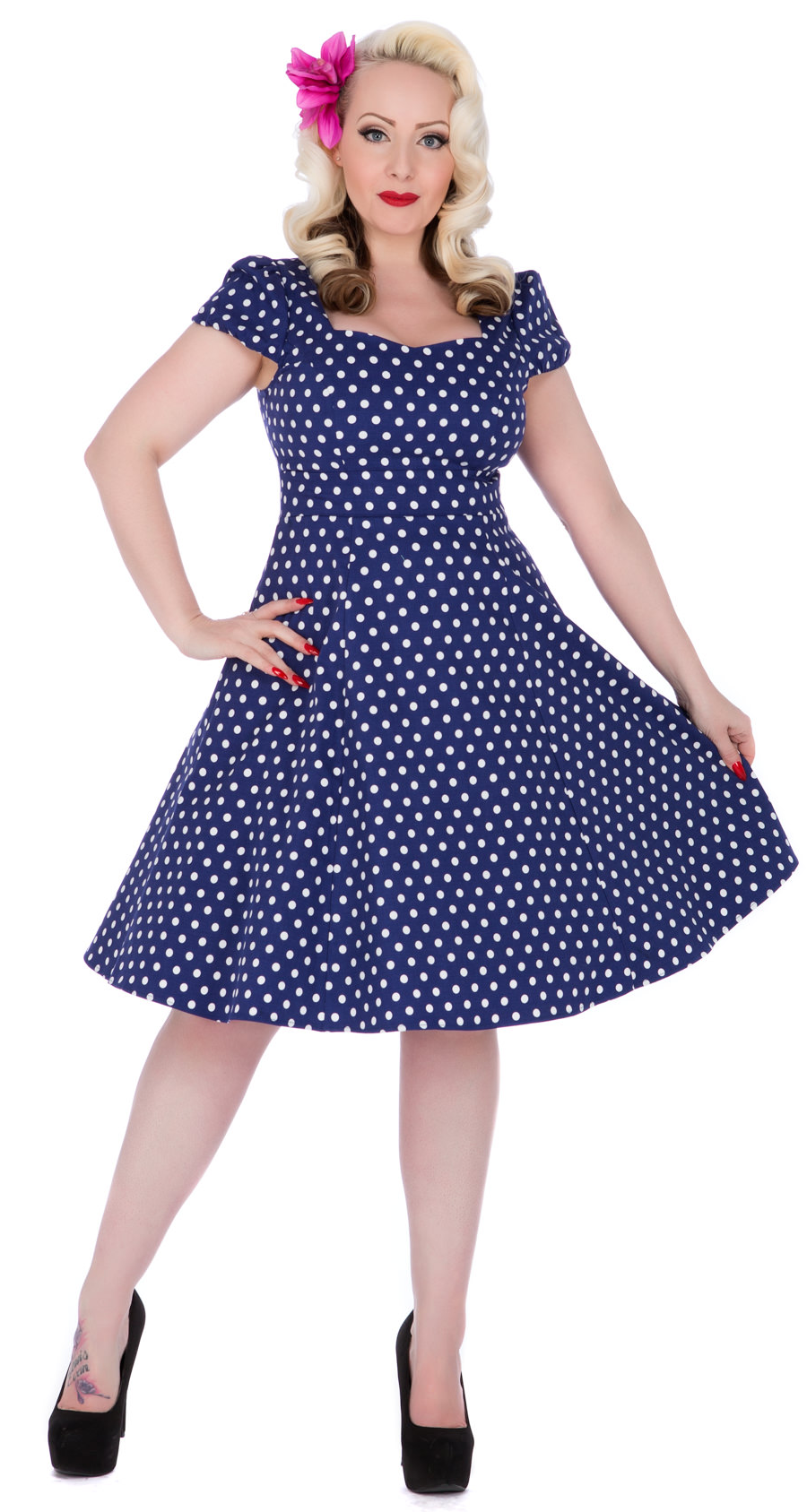 21a68c03f15c Claudia Flirty Fifties Style Dress in Dark Blue - New In!Artboard 1