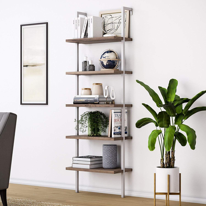 Amazoncom Nathan James 65502 Theo Wood Ladder Bookshelf, Bookcase, Warm