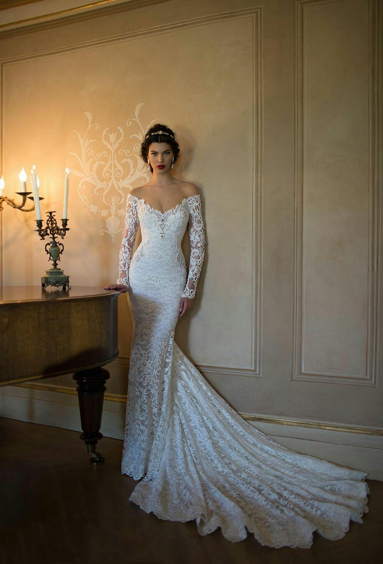 Long sleeve lace wedding dress mermaid  Off the Shoulder V Neck Crystal Detailling Lace Mermaid Wedding