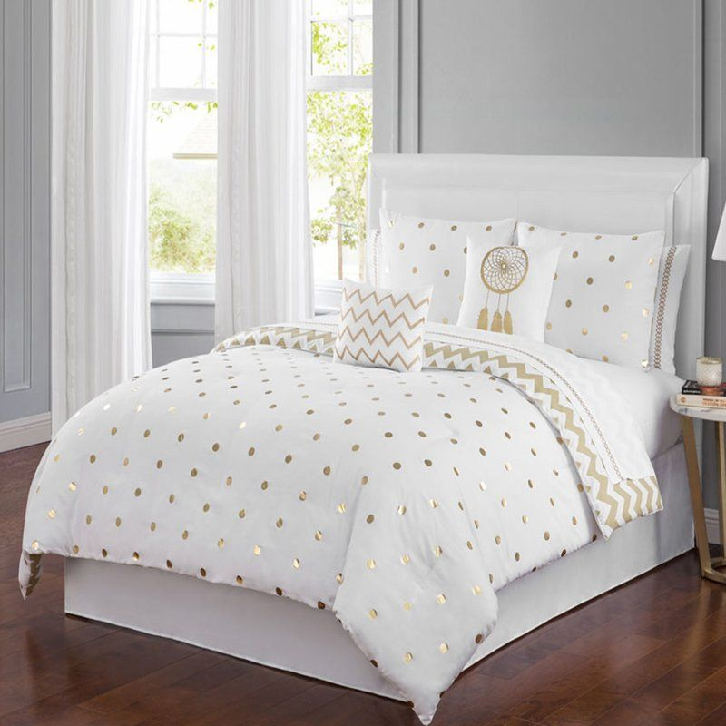 Zaniyah Dot Dreams 6 Piece Comforter Set Comforter Sets White