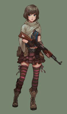 Cute Anime Girl With A Gun