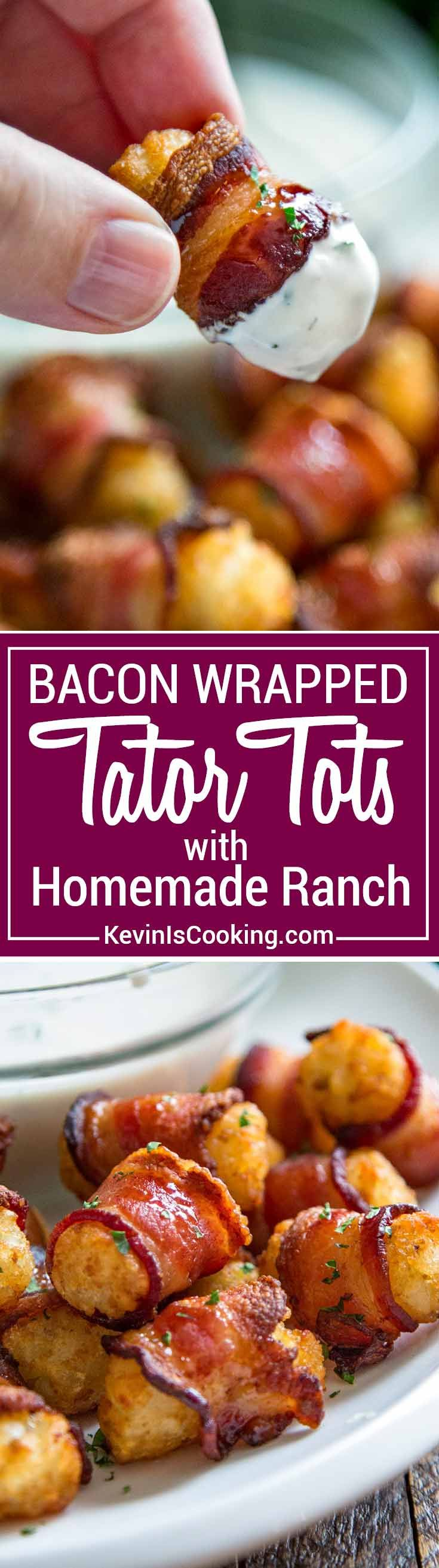 Bacon Wrapped Tots, a classic flavor combo potato and bacon. Now wrap bacon around each tot and bake! Then serve with homemade ranch dressing for the win.
