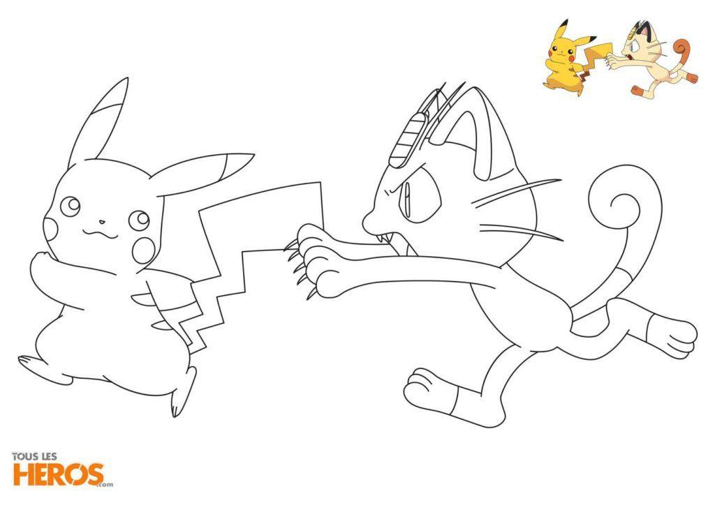 Coloriages Pokémon Pikachu Et Miaouss En Train De Sembêter