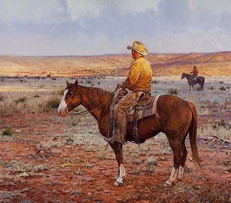 Four Sixes Morning | oil on canvas | 28 x 32 inches | $49,500 This painting depicts Mike Gibson ranch manager of the famous 6666 Ranch near Guthrie, Texas from 1991 - 2008