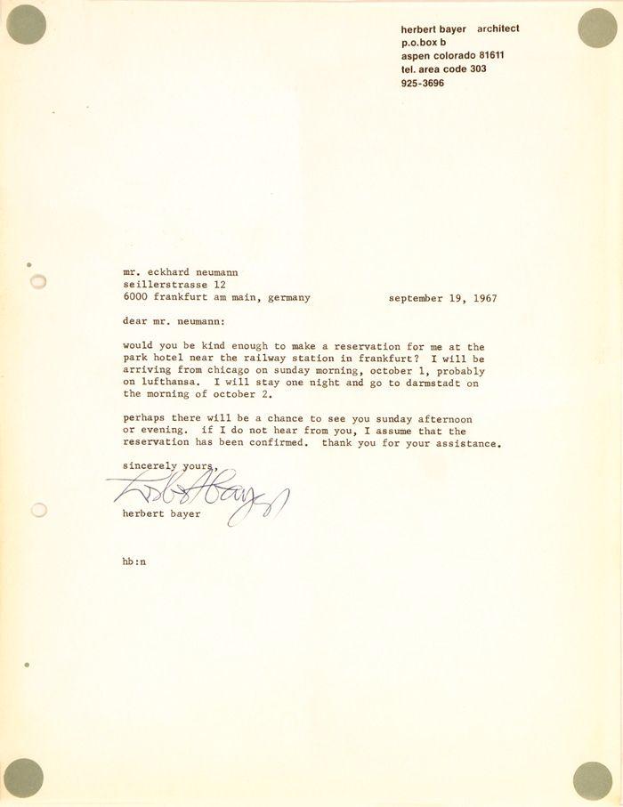 Letter Herbert Bayer, 1967 autograph Pinterest Herbert bayer - reservation letter