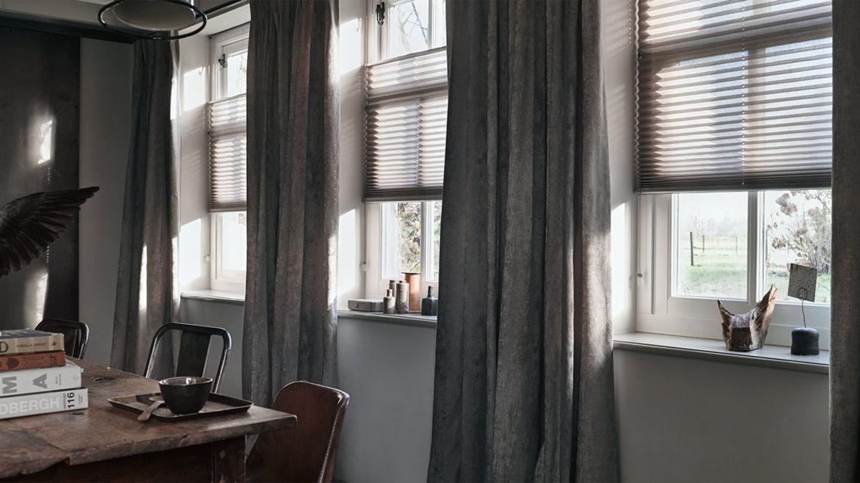Overgordijnen in combi met plisse 39 s for Overgordijnen woonkamer