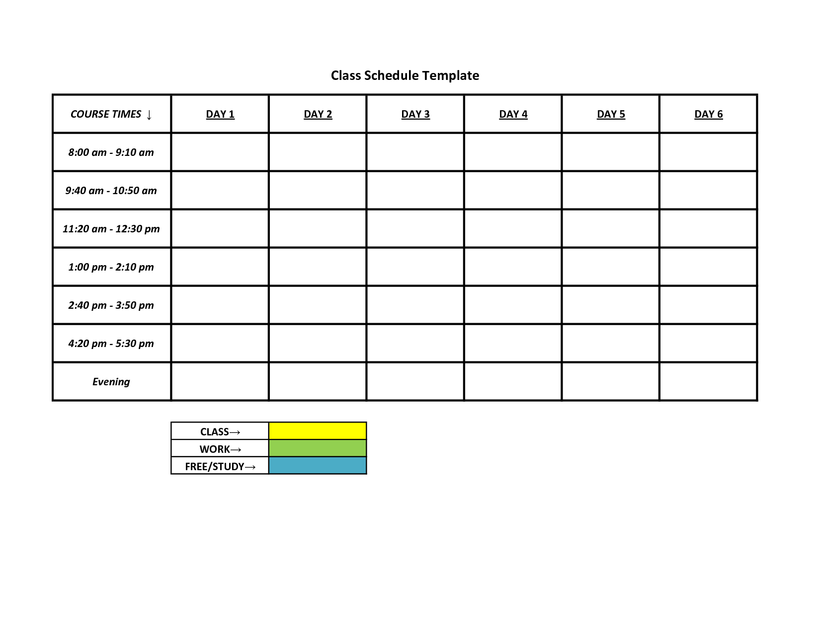 Printable Blank Class Schedule Weekly Template Free University Pdf