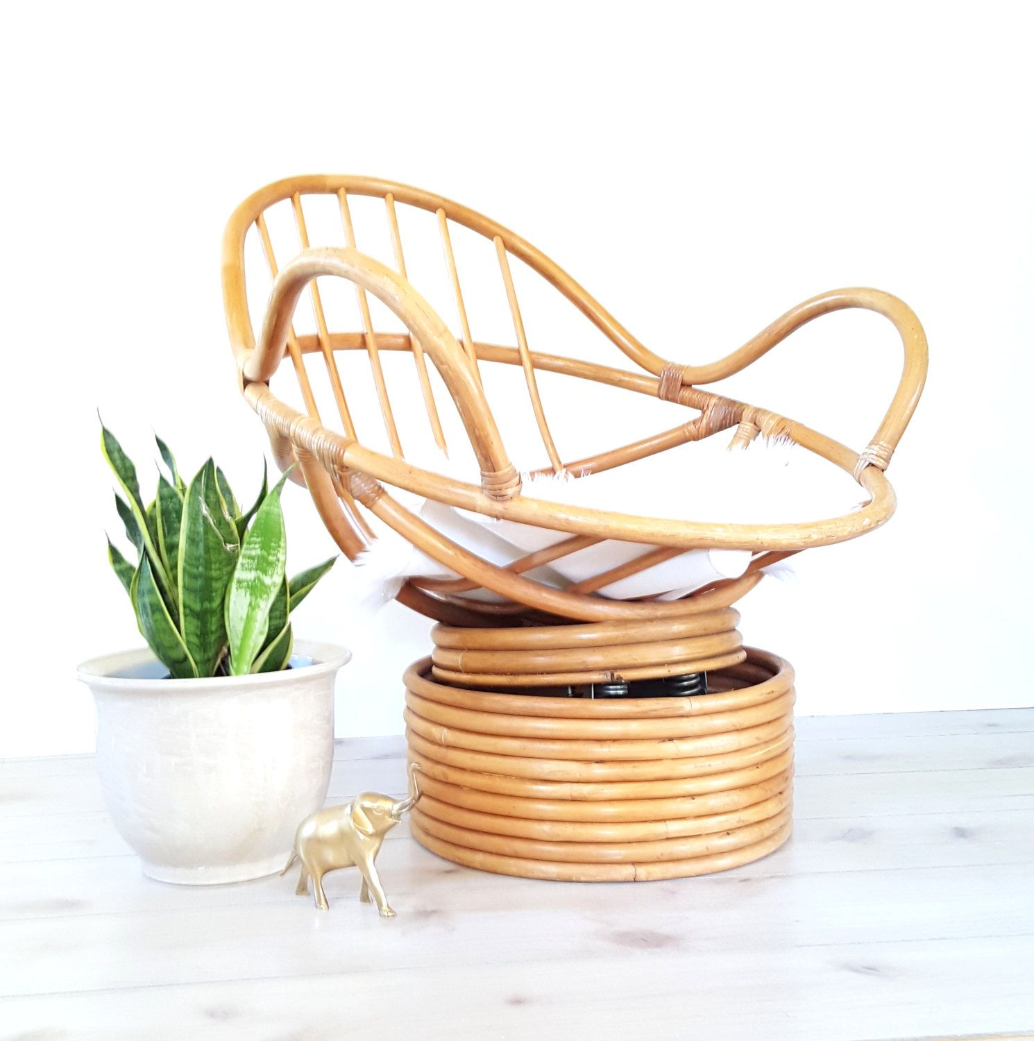 Bamboo Chair Mid Century Mod Rattan Bamboo POD CHAIR Rocking