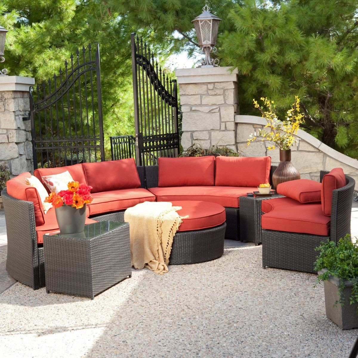 Meridian All Weather Wicker Sectional  Terracotta   Conversation Patio Sets  At Patio Furniture USA