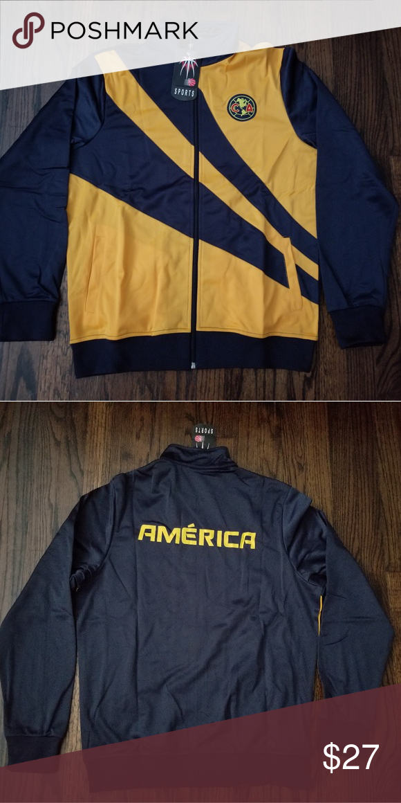 eefcc1bfd88 Club America men s track jacket futbol Nice club America men s track jacket  futbol Mexico yellow navy colors zipper adult sizes Sports Jackets   Coats
