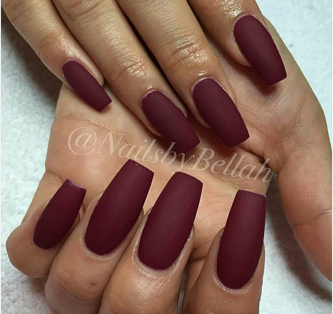 Pin By Lucy On Nails Burgundy Acrylic Nails Red Gel Nails Red Matte Nails