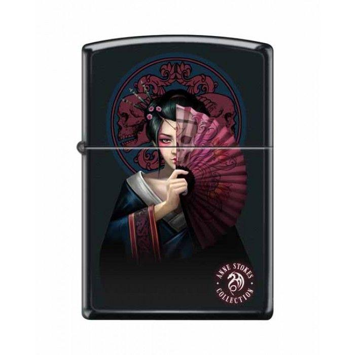 Zippo Lighter: Anne Stokes Geisha Girl - Black Matte