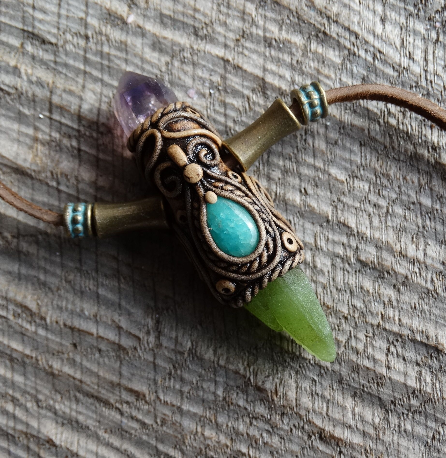 Brandberg Amethyst Pendant Terminated natural Peridot Necklace