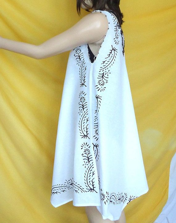Sale sale Natural cotton Fabric White Summer Beach Dress  by aysev, $70.00