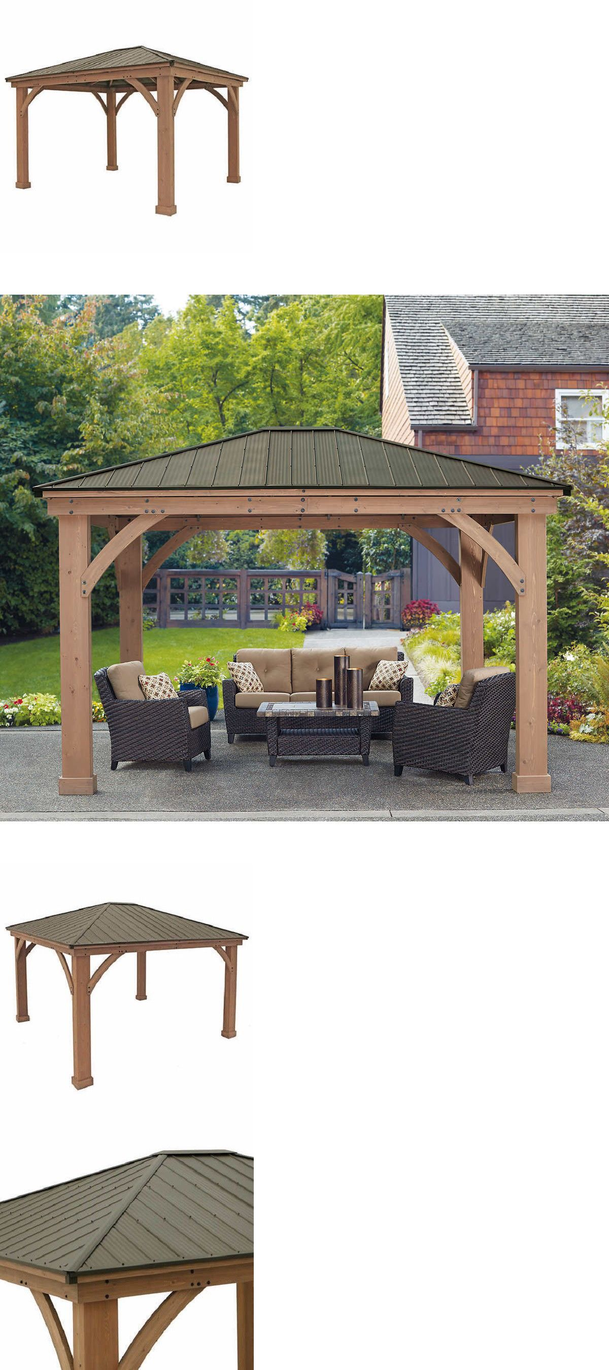 Details About Yardistry 12 X 14 Cedar Gazebo With Aluminum Roof Backyard Gazebo Aluminum Roof Large Gazebo