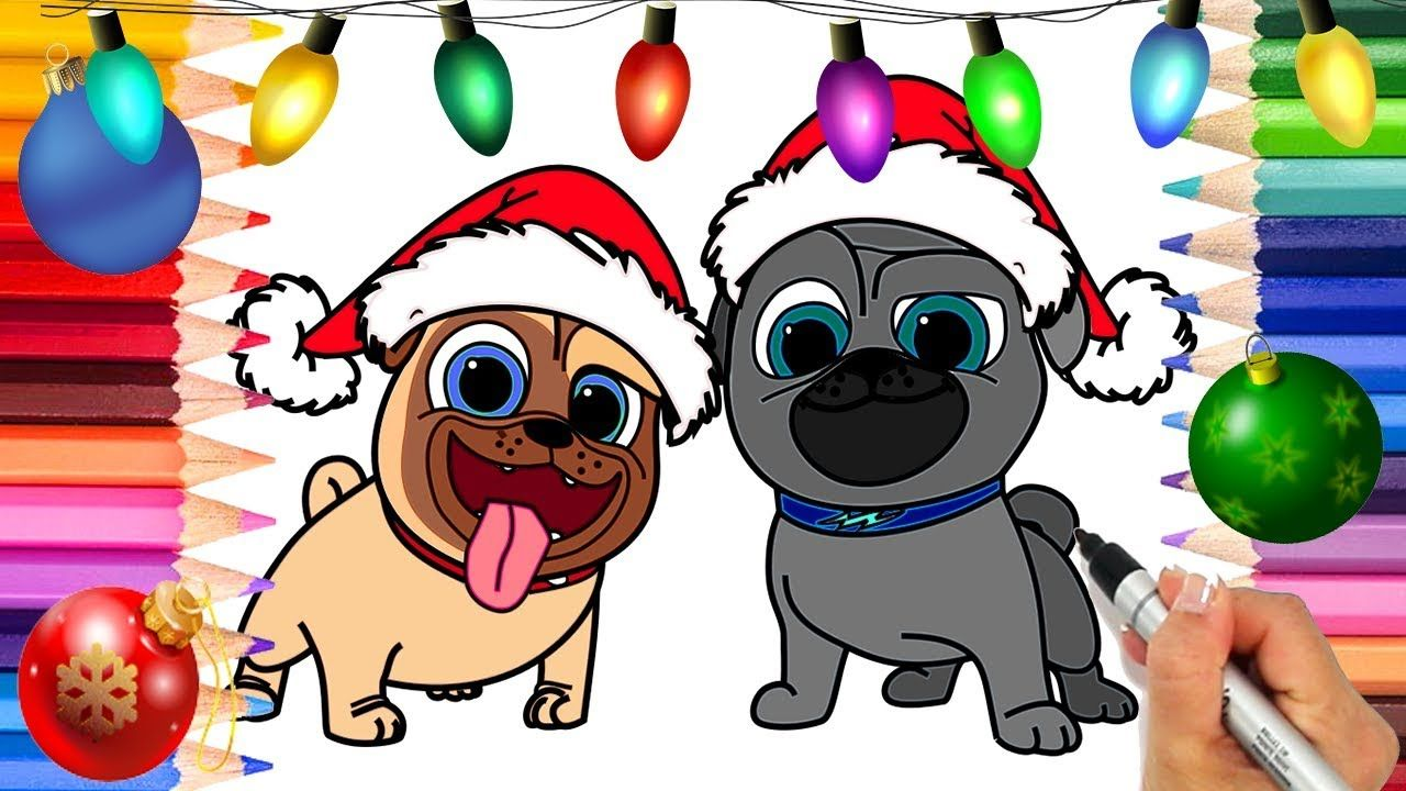 Puppy Dog Pals Christmas Coloring Page Rolly And Bingo Disney