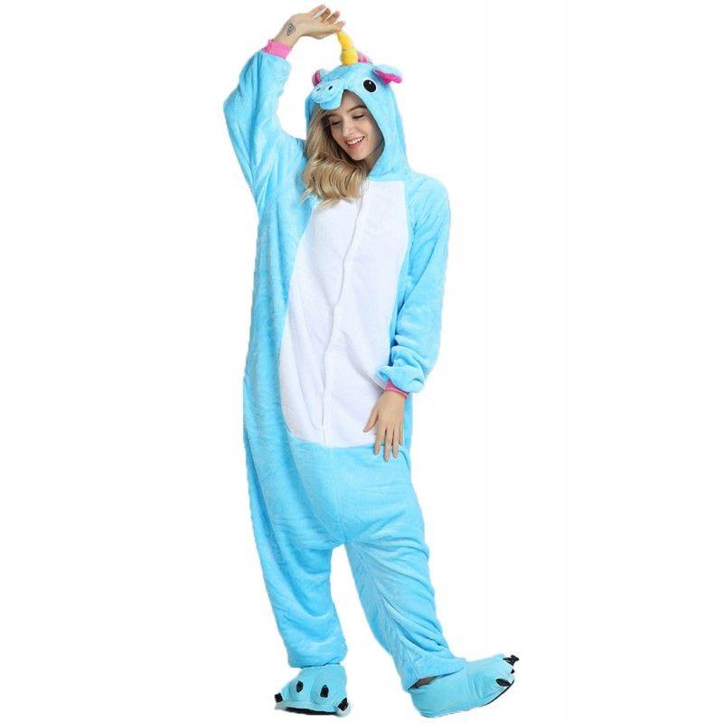 ee9769963c1a Unisex Blue Unicorn Kigurumi Onesie Pajamas Animal Costumes For Women   Men
