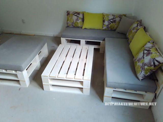 Sof de palets puff y mesa - Como hacer un sofa de palets ...