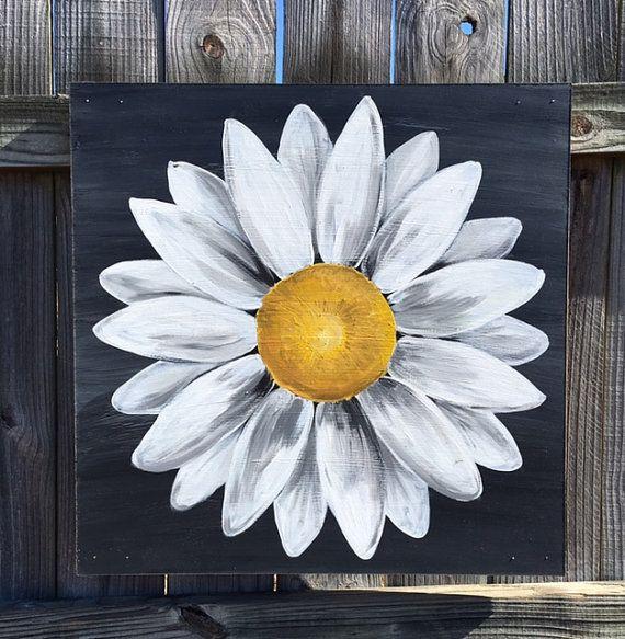 Daisy Painting on Wood Panel Original Flower Art Black and