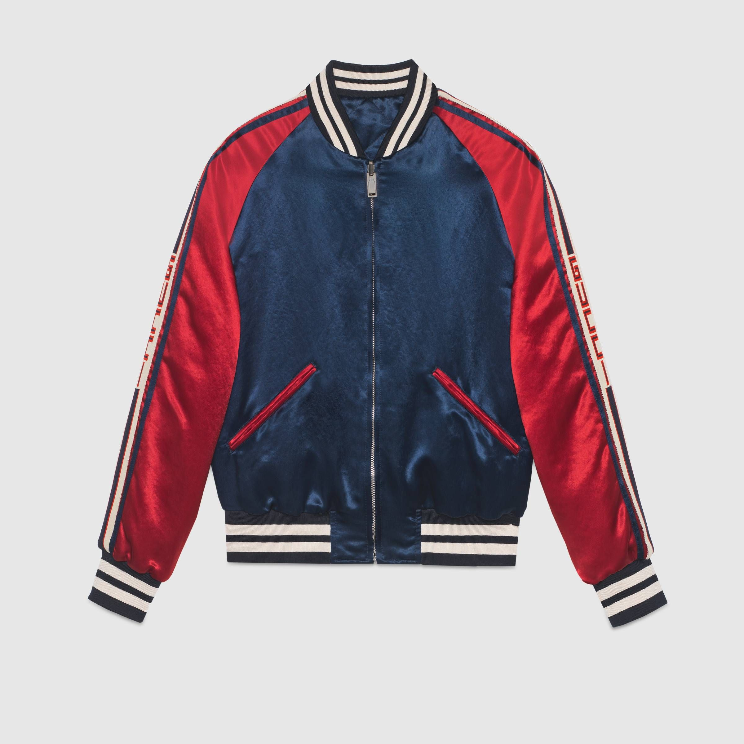 Gucci Stripe Reversible Acetate Bomber Gucci Men S Leather Casual Jackets 501100z791a4586 Quilted Jacket Men Gucci Jacket Mens Jackets [ 2400 x 2400 Pixel ]
