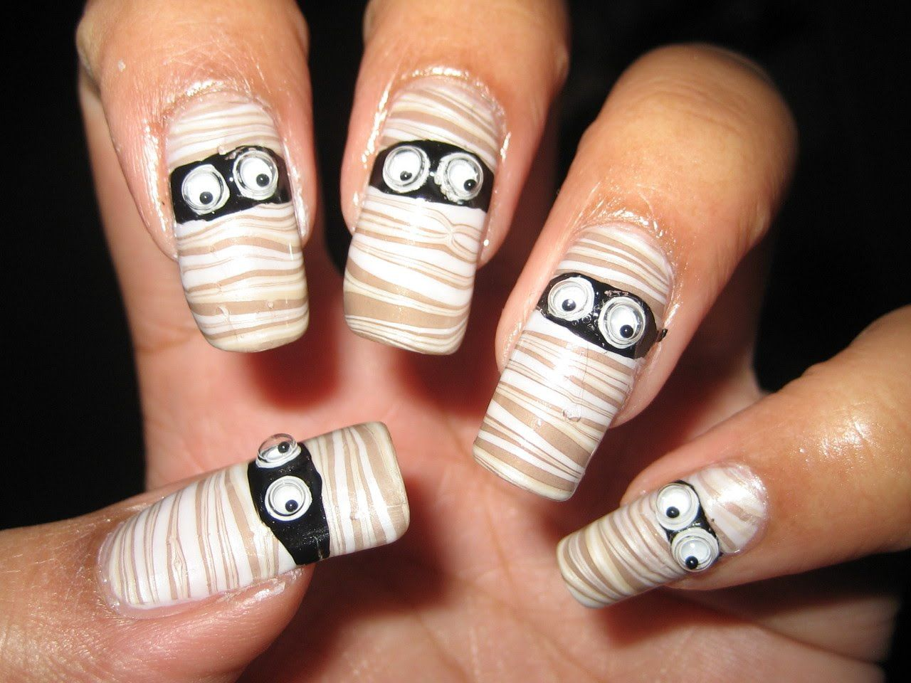 halloween mummy water marble nail art tutorial | make up & nails