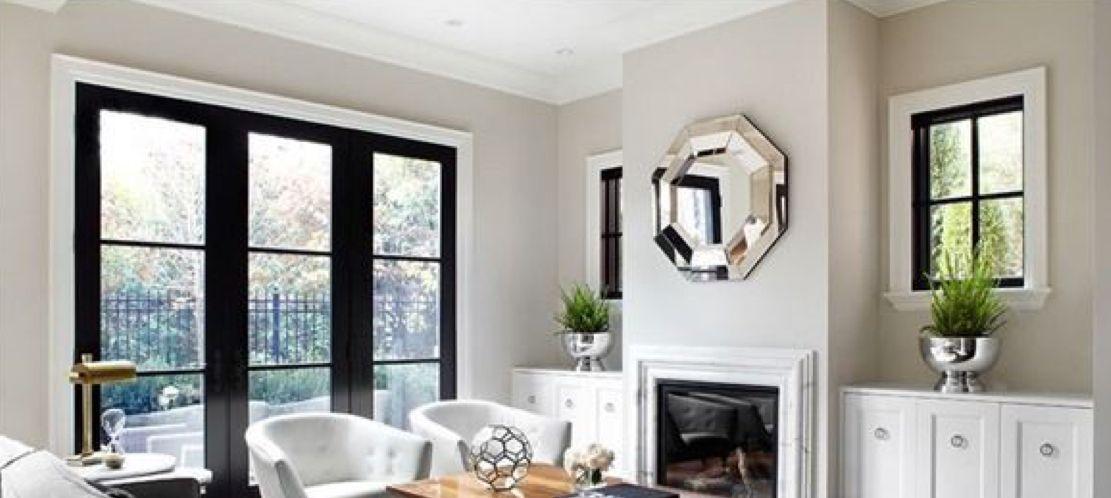Black Windows White Trim And Grey Walls House Interior Black