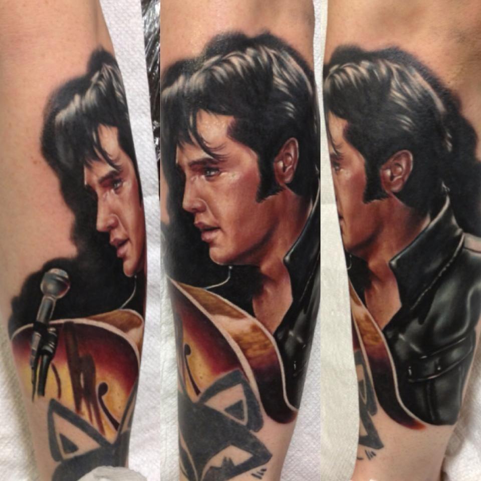 Elvis color portrait tattoo by kris busching long for Elvis presley tattoos