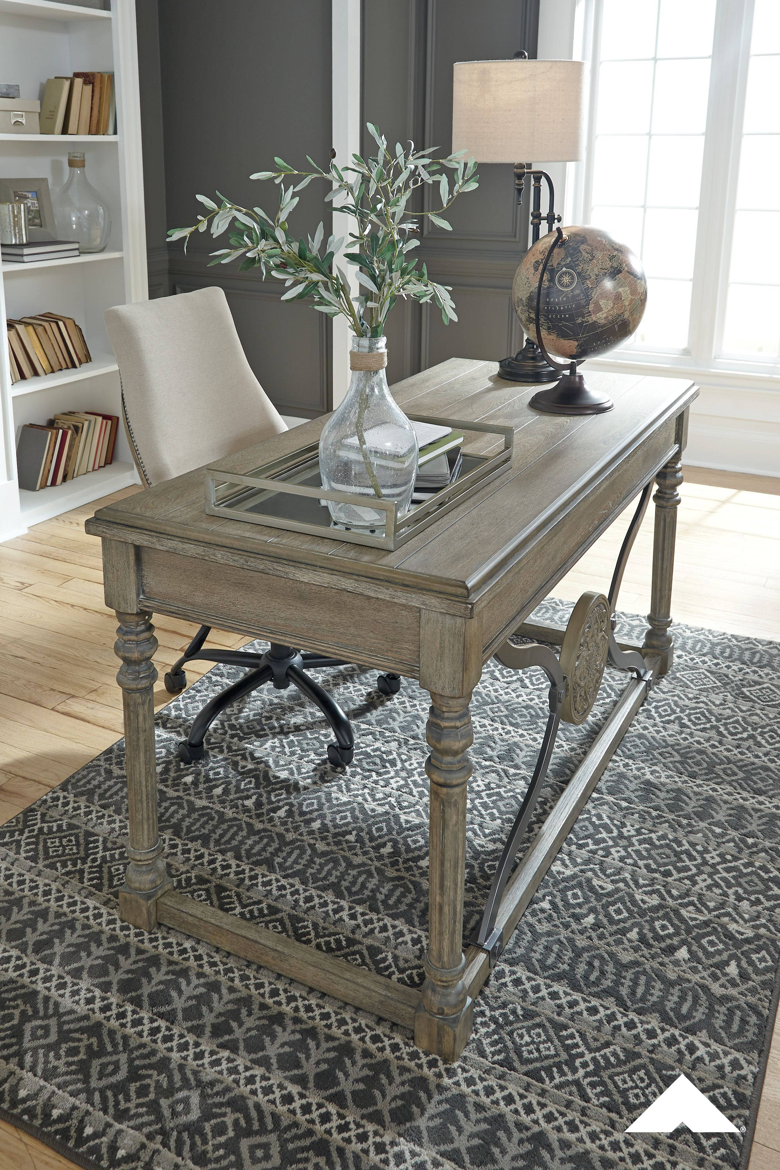 Malamae Light Brown Home Office Desk   Traditional style ...