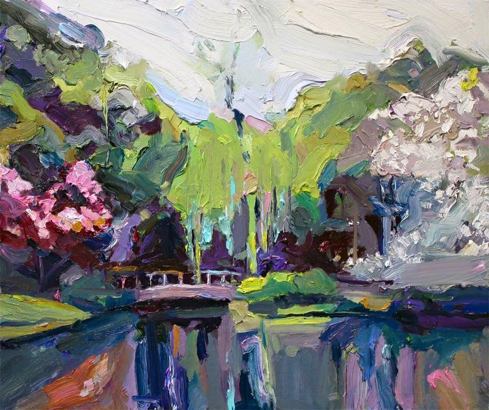 Richard Claremont Art In Japan Pond In Shinjuku Garden Landscape Oil Paintings For Sale Art Painting Art Eclectic Art