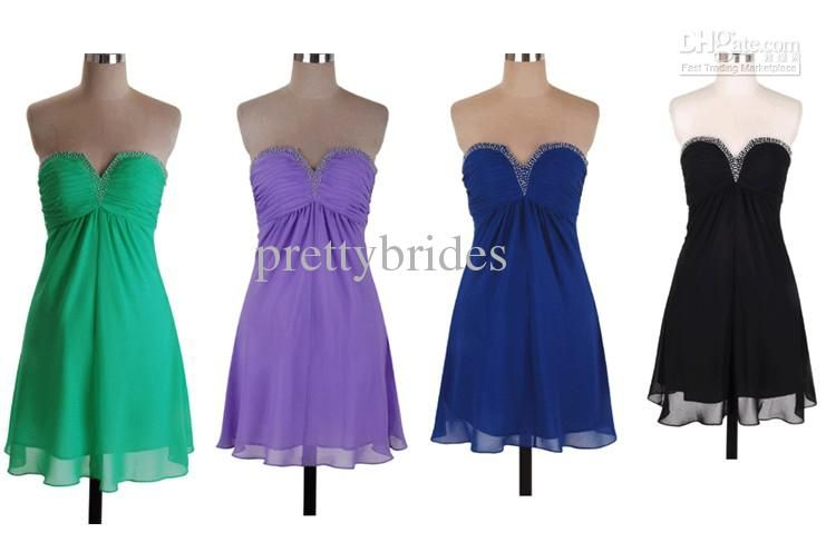 Wholesale Short Mini Chiffon Sleeveless In Stock Beaded Pleated Bridesmaids Dresses Wedding Party Gown Homecoming Cocktail Dress RL916, Free shipping, $33.6-42.56/Piece   DHgate