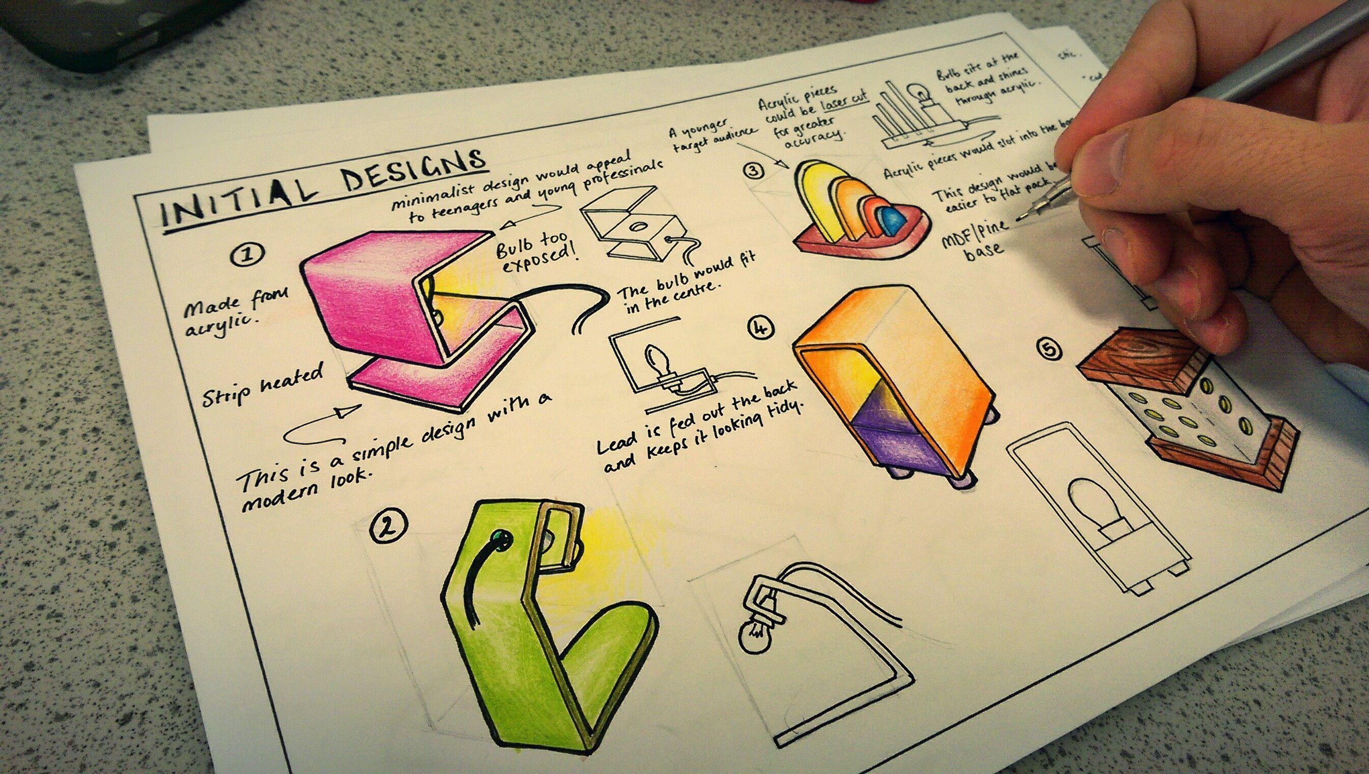 Example design work for gcse product design students rendering techniques sketching techniques portfolio