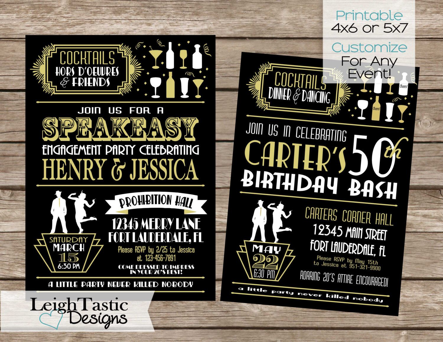 Printable Customize For ANY Event ROARING 20S INVITATION Gatsby