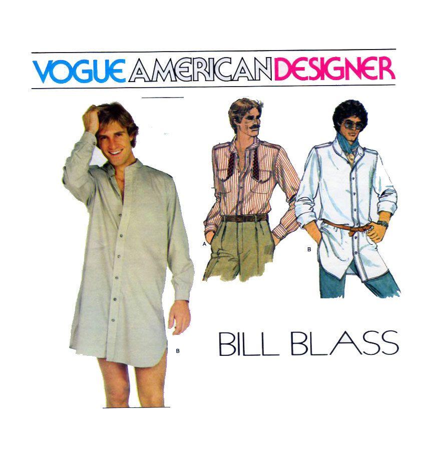 BILL BLASS Vogue 2155 Mens Shirt Sewing Pattern Button Front ...