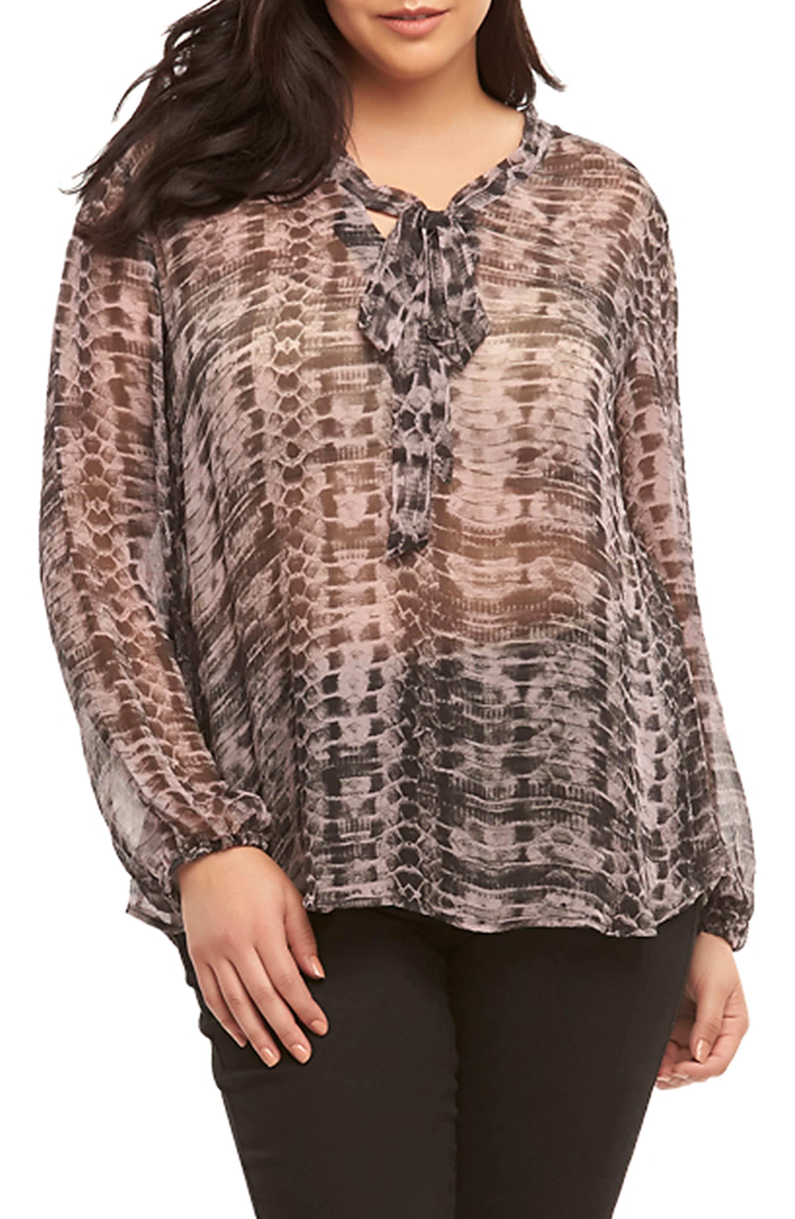 Bobeau Womens Plus Cristy Animal Print Pleated Dress Top