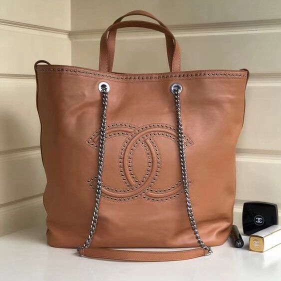 2cc792ce24a Chanel Coco Eyelets Calfskin Large Shopping Bag A69994 Beige Cruise 2018