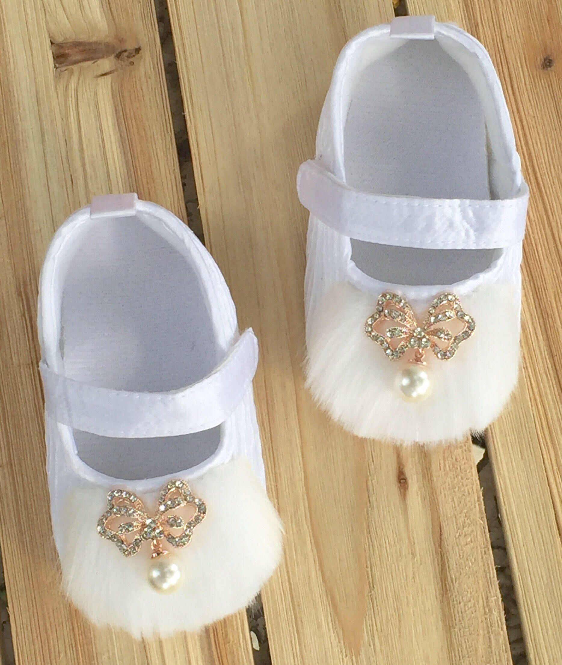 White Satin Soft Sole Crib Shoes Newborn Baby Baby Girl Shoes
