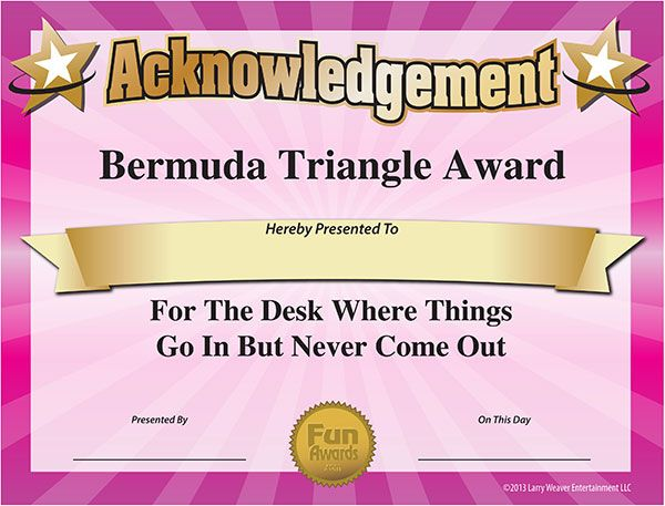101 Funny Office Awards From Comedian Larry Weaver Www.Funawards