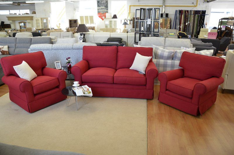 Fabric Sofas Suites Padstow 3 Piece Suite In Crimson Red