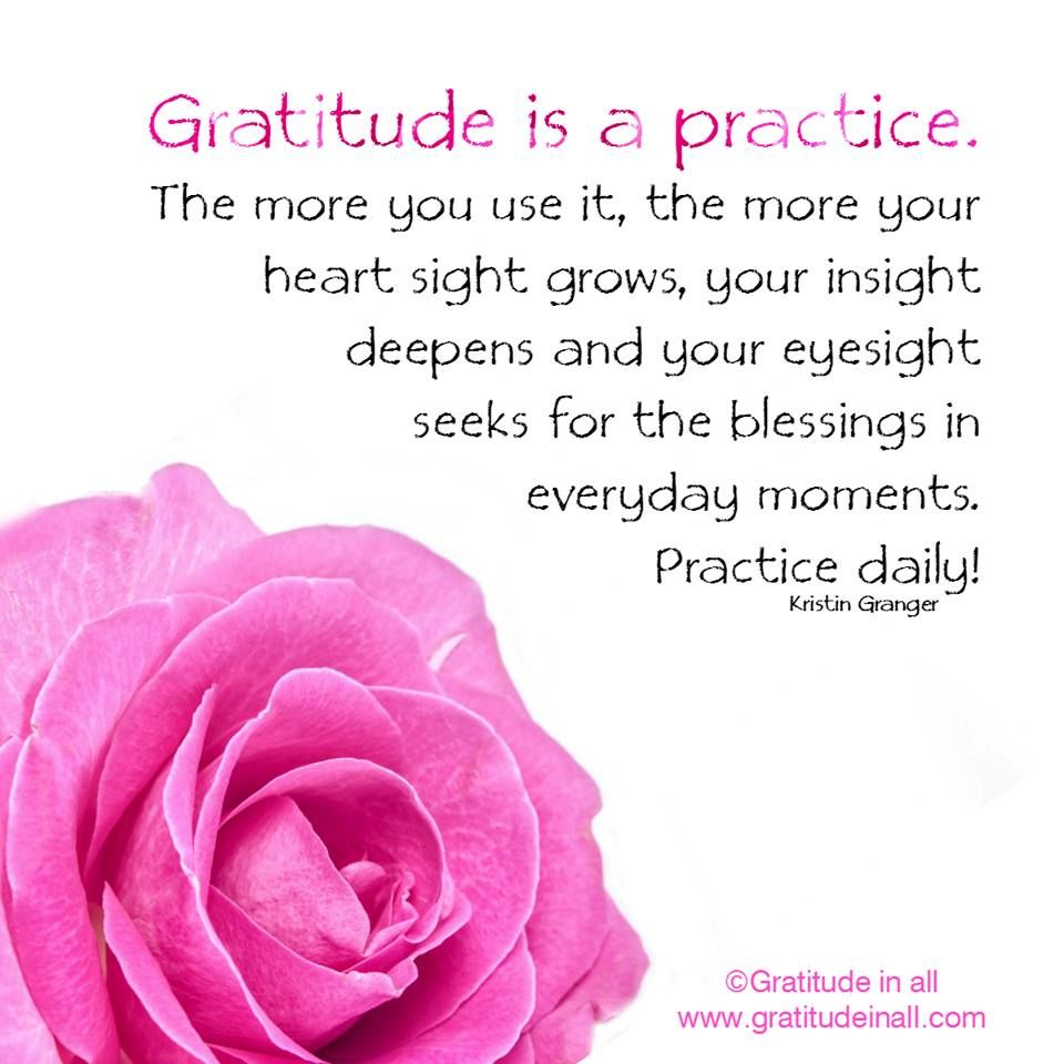 Gratitude is a practice.  The more you use it, the more your heartsight grows, your insight deepens and your eyesight seeks for the blessings in everyday moments. Practice daily! Kristin Granger #quote