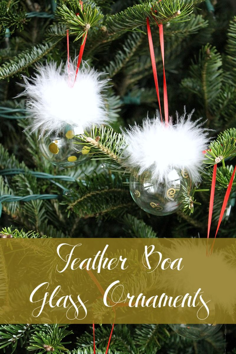 Monthly Diy Challenge Feather Boa Clear Glass Ornaments