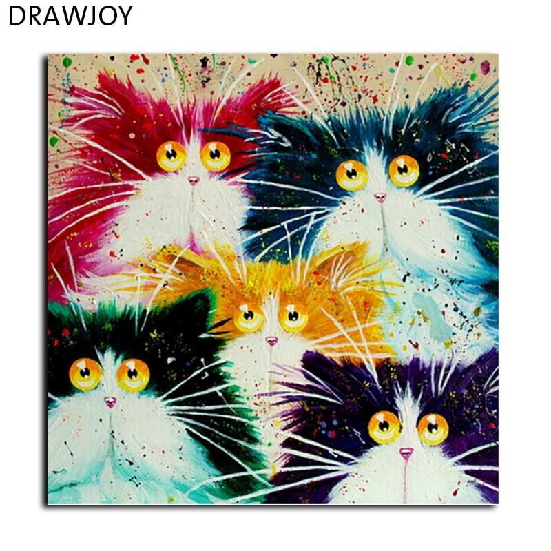 Drawjoy Framed Picture Painting By Numbers Diy Coloring By Numbers On Canvas Colorful Cats Home Decor 40 50cm Painting Gx4039 In 2020 Cross Paintings Paint By Number Kits Diy Painting