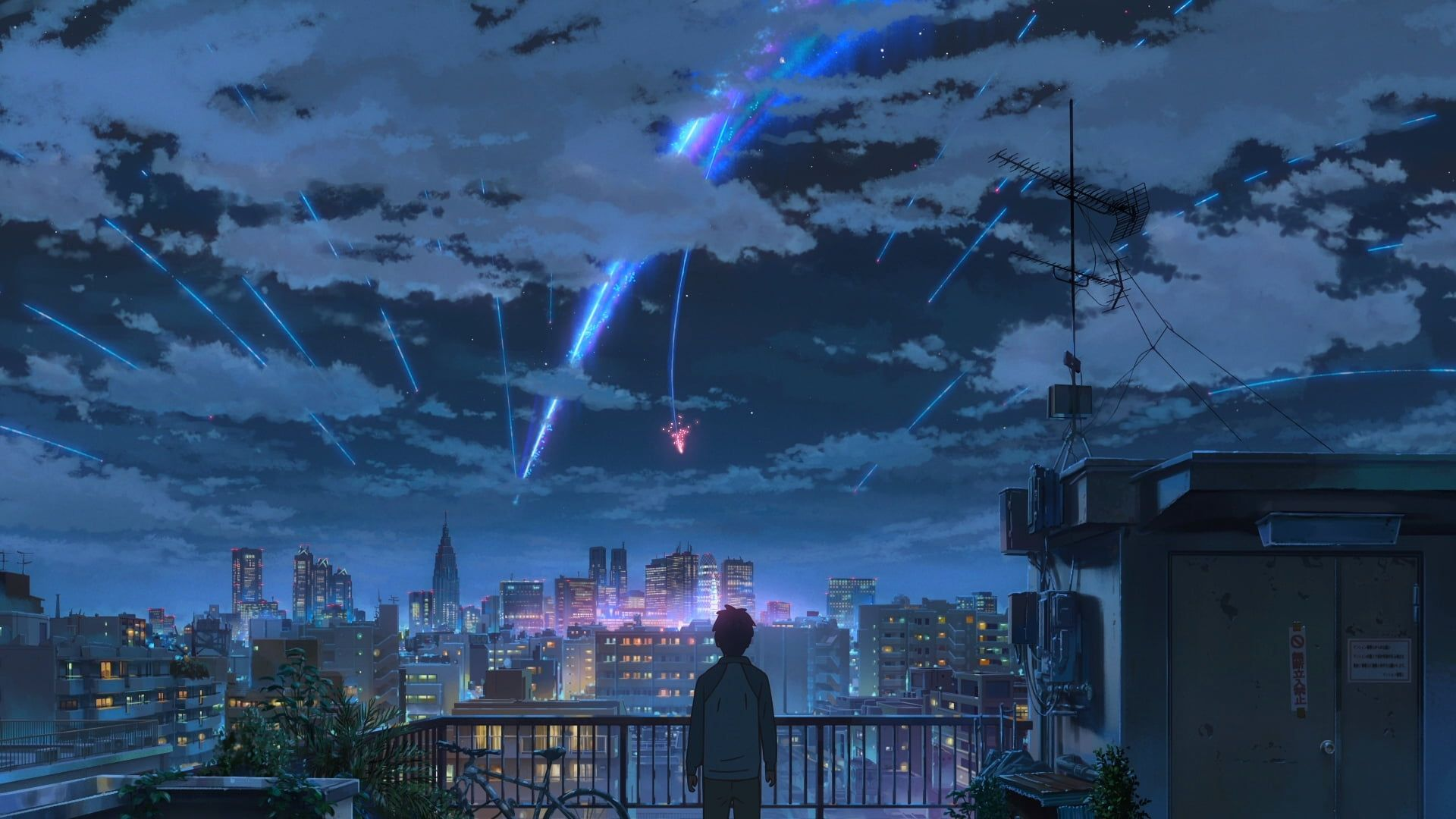 Your Name Wallpaper Kimi No Na Wa Makoto Shinkai Starry Night Comet 1080p Wallpaper Hdwallpaper Name Wallpaper Your Name Wallpaper Anime Scenery Wallpaper