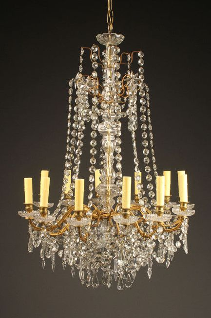 Antique Crystal And Bronze 12 Arm Chandelier Arm Chandelier