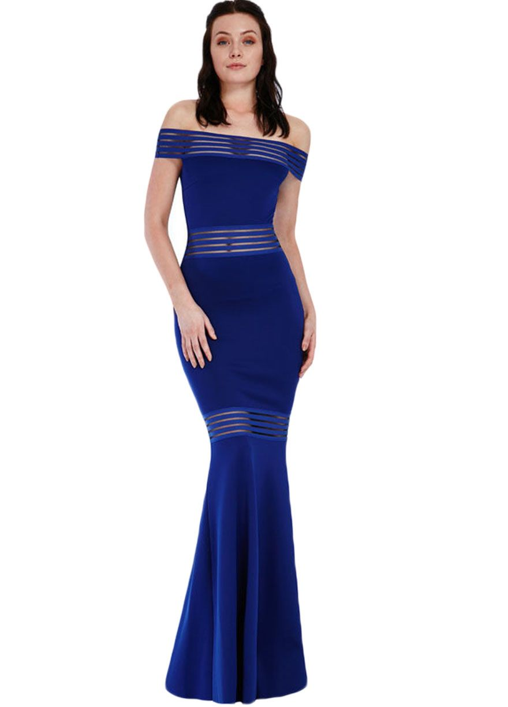 Mesh Spliced Off The Shoulder Maxi Formal Dress_Evening ...
