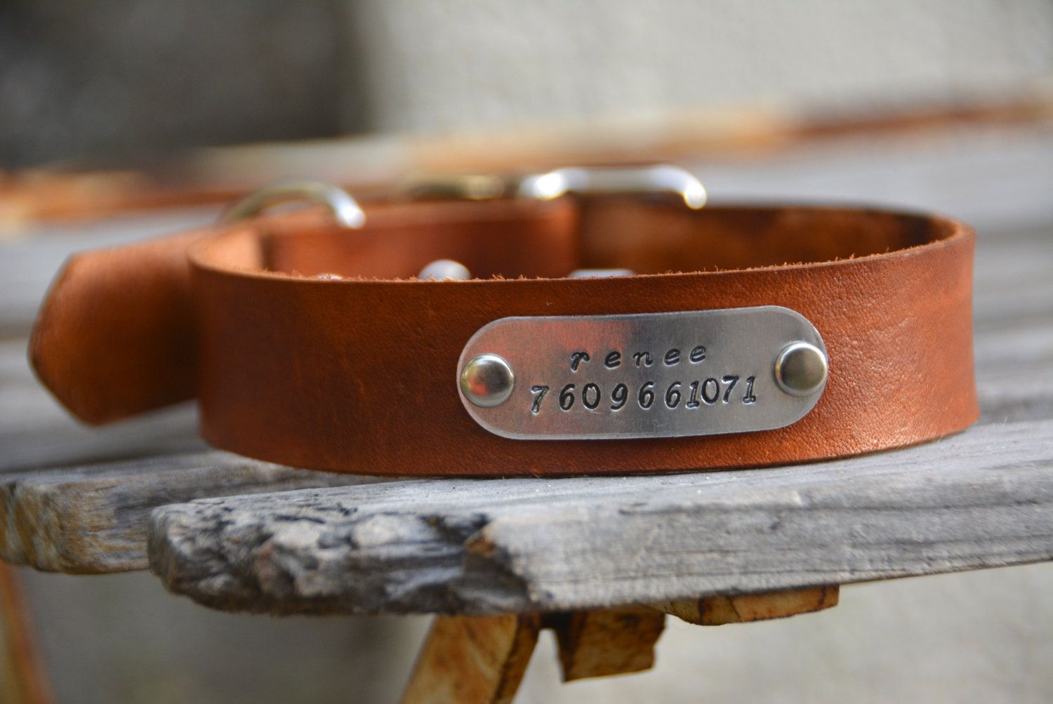 Personalized Leather Dog Collar with Choice by MarlonBrandLeather, $15.00